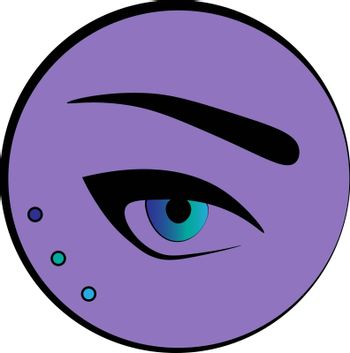 Fashion and make up icon: an eye and an eyebrow in the violet circle