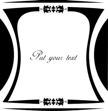 Blank black and white curved frame with vintage ornate decor