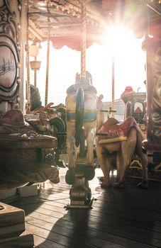 Carousel in amusement park.