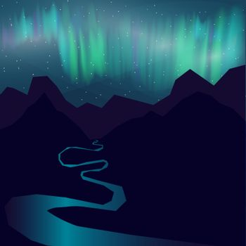 Night landscape of the mountains, nothern lights and starry night sky.