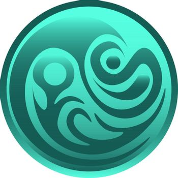 Circle with the blue pattern. fantasy symbol of the water, icon, button or logo