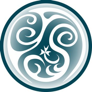 Circle with the grey pattern. fantasy symbol of the light powers and white magic, icon, button or logo