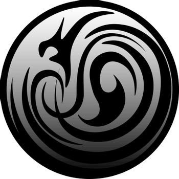 Circle with the dark pattern. fantasy symbol of the dark power and magic, icon, button or logo
