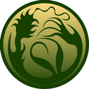 Circle with the green pattern. fantasy symbol of the earth and nature, icon, button or logo
