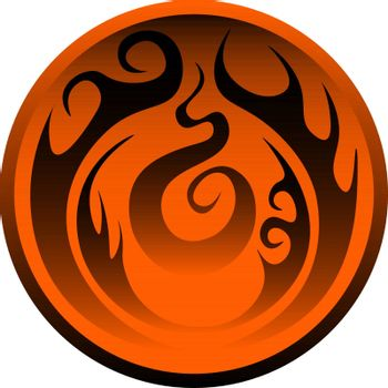 Circle with the orande and black pattern. fantasy symbol of the fire, icon, button or logo