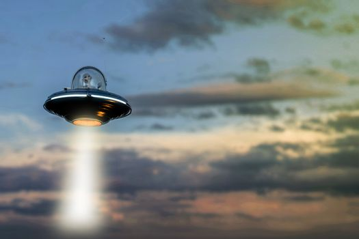 unidentified flying object floating in the sky 3d illustration