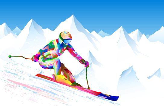 Athlete skier on a background of sky and snowy peaks. The athlete is active in skiing, performs downhill and slalom. Bright colored figure-silhouette of a skier skiing.