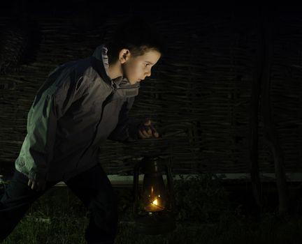 Child walk in the darkness