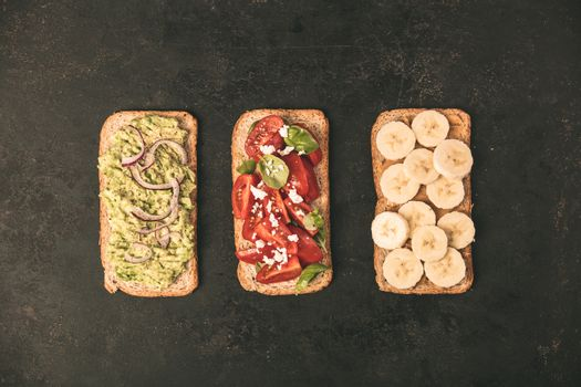 Healthy sandwiches, flat lay