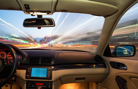 Car interior on driving.