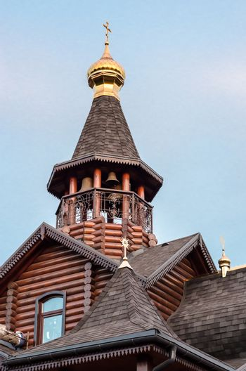 wooden architecture dome of a modern Orthodox Christian church