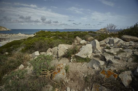 The barren territory of the Sardinian coasts of the south.