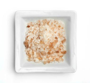 Natural coarse salt in in a bowl