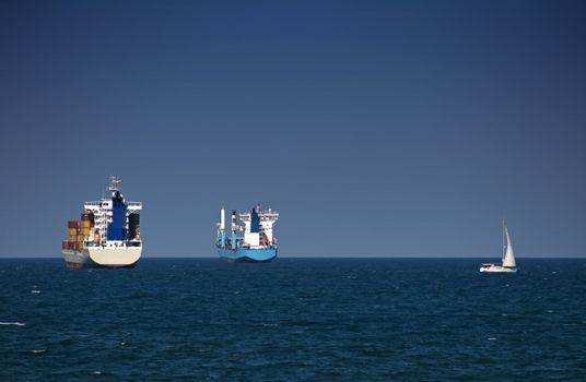 Commercial container ships