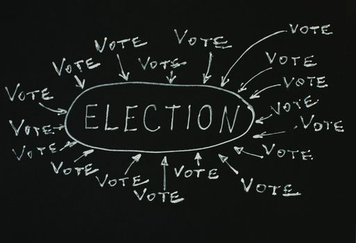 Elections text conception over black. Vote and election text