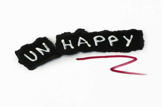 Happy text over black paper. Unhappy and Happy conception
