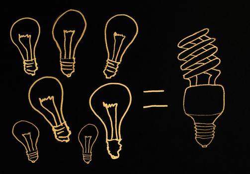 Efficient lamps concept illustration. Ecology conception