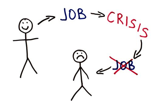 Job and crisis conception illustration over white.