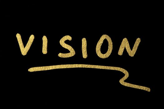 Vision text conception over black