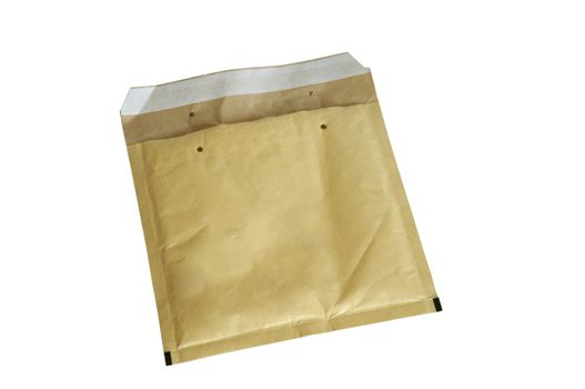 Yellow packaging envelope isolated on white