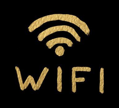 Word WIFI and symbol over black