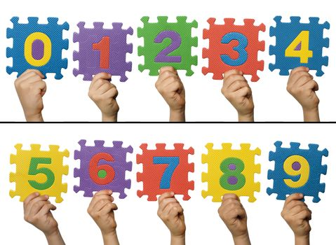 Children hands holding numbers. White isolated multicolor numbers.