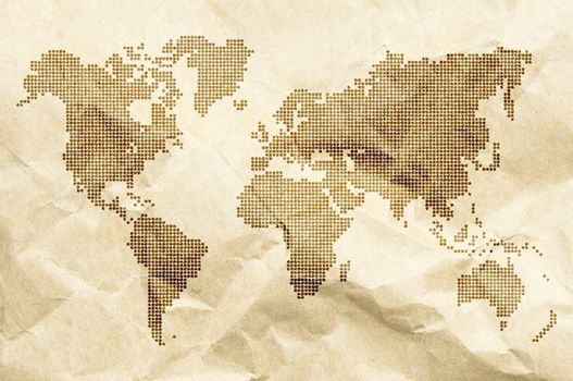 Dot World old style map background. Crumpled old paper