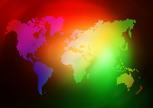 Dot World map business background. Red and green colors lights on background