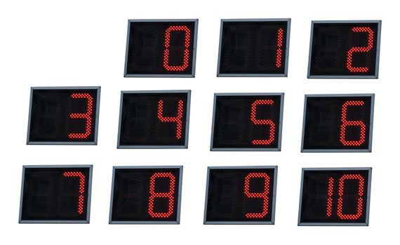 Illuminated digital numbers.Red color numbers