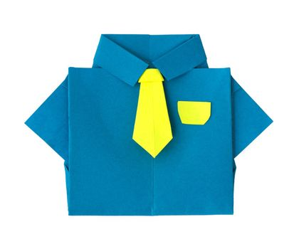 Origami blue shirt with tie. White isolated