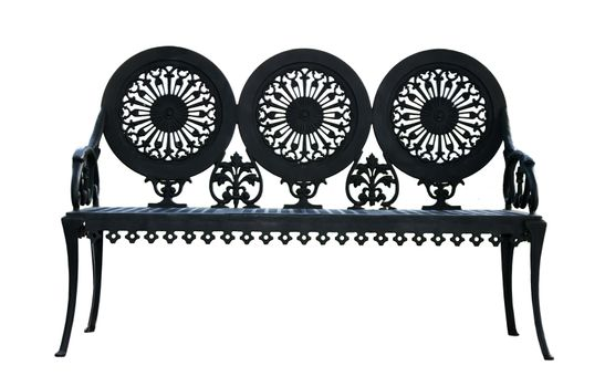 Metal ornamental bench isolated on white background