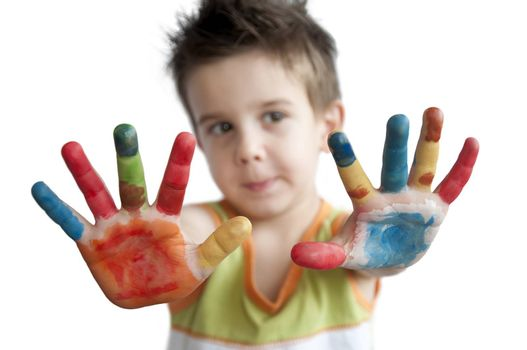 Children colored hands. Little boy hands.White isolated