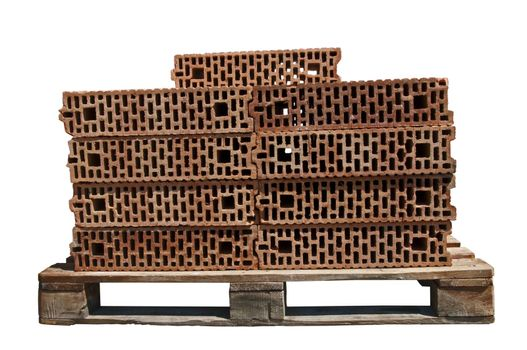 Bricks on pallet isolated white background.