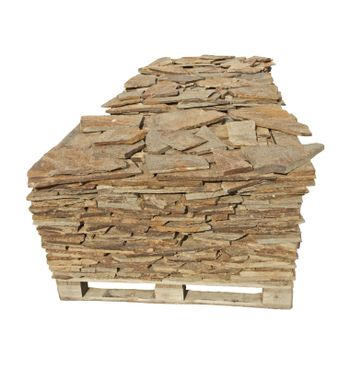 Stone slabs on a pallet. White isolated