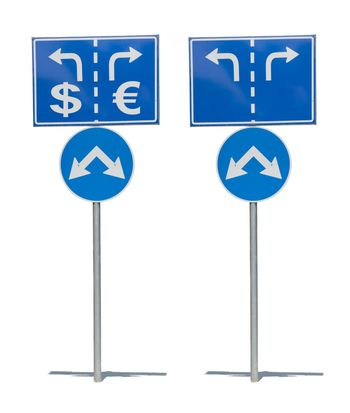 Crossroads Road Sign, Two Arrow.White isolated