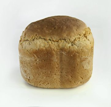 Homemade whole bread.White isolated