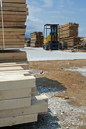Carpentry factory and ordered timber.Woods