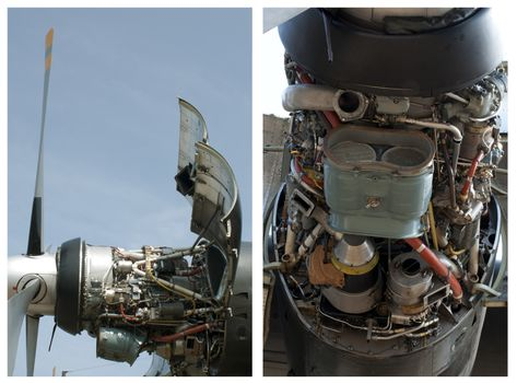 Plane disassembled engine. Two vertical images