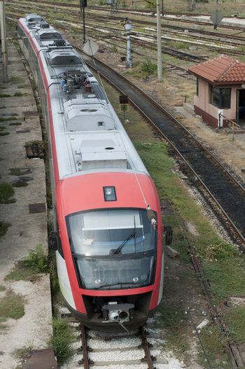 Red electric train top view