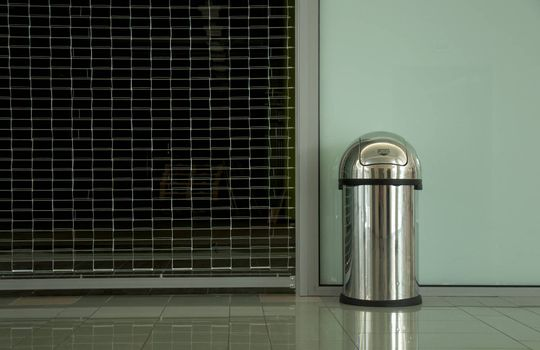 Metallic Trash Container. Horisontal background