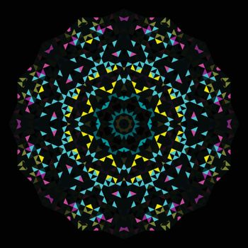 Abstract Geometric Bright Kaleidoscope Pattern. Circle Symmetric Design. Round Flower Ornament.