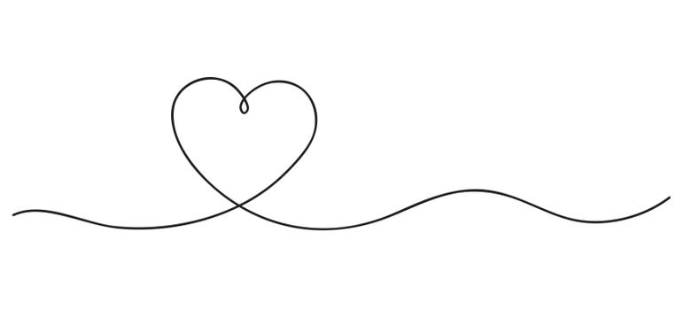 Heart. Continuous line art drawing. Hand drawn doodle vector illustration in a continuous line. Line art decorative design.