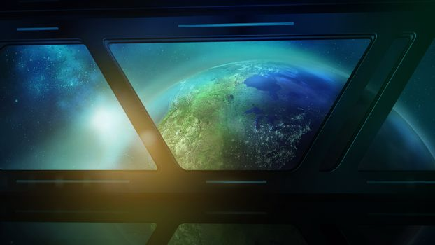 Earth from the porthole of the spaceship, 3D render