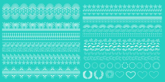 Vector hand-drawn Set of horizontal lace borders and Edges Collection on the green background. Vintage pattern decoration fashion illustration