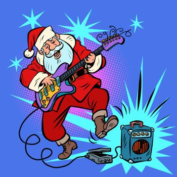 playing the electric guitar. Santa Claus character Christmas new year. Comic cartoon pop art retro vector illustration drawing