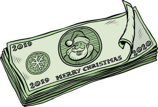 2019 2020 banknotes money cash. annual bonus. Santa Claus character Christmas new year. Comic cartoon pop art retro vector illustration drawing