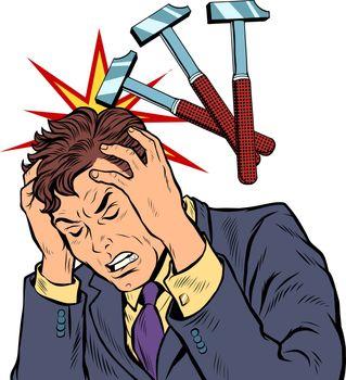throbbing headache man. hammer blows