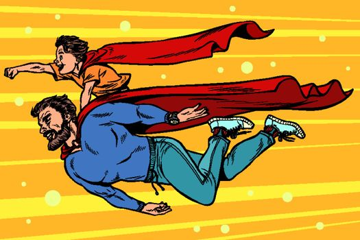 dad and son are superheroes. fatherhood and childhood