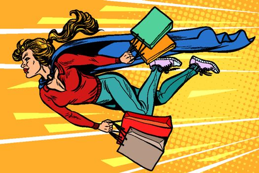 superhero woman flying with shopping. sales and discounts in stores