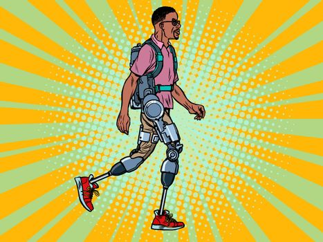 exoskeleton for the disabled. african man legless veteran walks. rehabilitation treatment recovery. science and technology